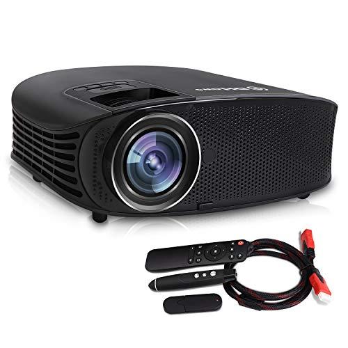 Video Beamer, DHAWS 3800LM 1080P Full HD HDMI Filmprojektor für Geschäft PowerPoint Präsentation und Heimkino, mit PPT Clicker