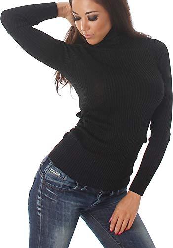 Voyelles Damen Glitzer Pullover Rollkragen Pulli Lamé Feinstrick Slim-Fit Stretch Sweatshirt dünn Fäden Glanz, Schwarz Schwarz Stretch-sweatshirt