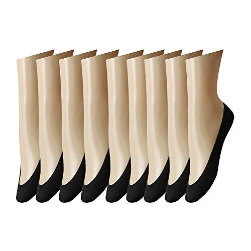 Caudblor 9 Paires Chaussettes Femmes Protège-Pied Invisible Soie Nylon Socquettes anti-dérapant Silicone (Noir L)