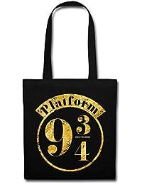 Spreadshirt Harry Potter Platform 9 3/4 Gold Stoffbeutel