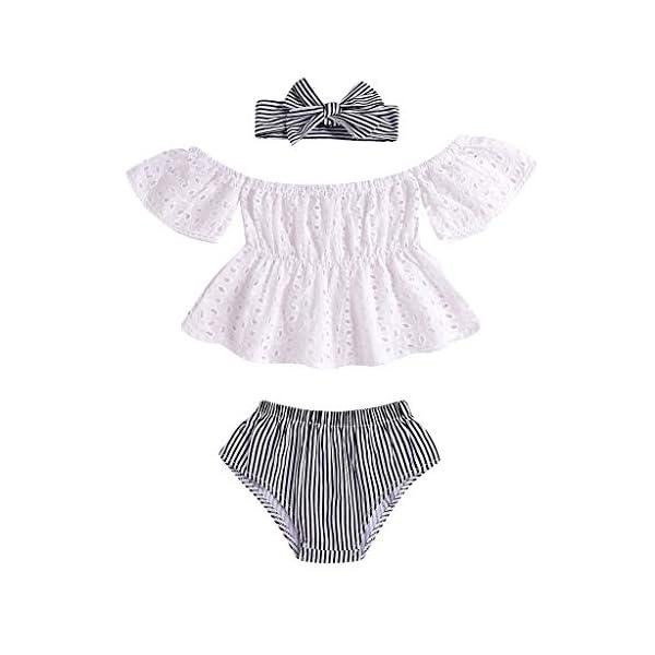 PAOLIAN Conjuntos para Bebe Niñas Verano Recién Nacidos Camisetas Sin Tirantes Manga Corta Pantalones Corto Diademas… 1