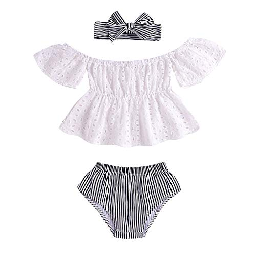 JUTOO Infant Baby Mädchen Schulterfrei Solide Lace Tops + Gestreifte Shorts + Stirnband Outfits 3er Set (Weiß,100)
