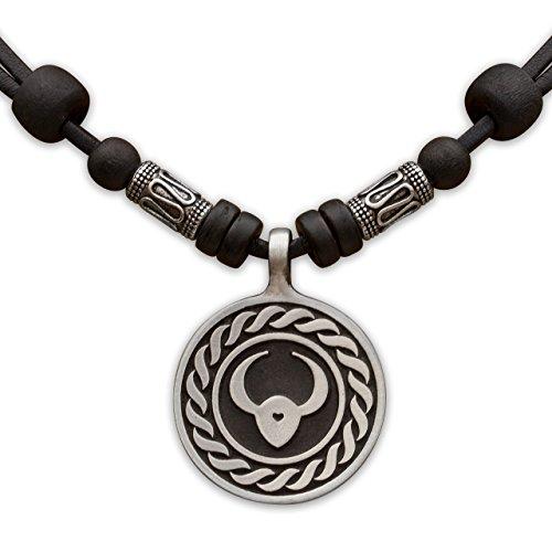 1 von 12 Sternzeichen Tierkreiszeichen an verstellbarer Lederkette mit Edelstahlperlen Horoskop Horoscope Halskette Surferkette HANA LIMA ® (B - STIER (Taurus) / 21. April - 20. Mai) (Leder Taurus)