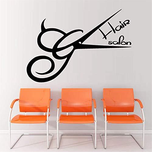 Haarscheren Aufkleber Barber Shop Aufkleber Friseursalon Aufkleber Neutral Haarschnitt Poster Vinyl Wandkunst Aufkleber Dekor Kaffee 58x83cm