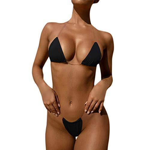Ducomi ICY Zweiteilige Badeanzüge für Damen - Super Sexy Bikini, Badeanzug im Oberen Dreieck, Gepolstert mit Transparenten Trägern und Brasilianischer Hose mit Hoher Taille - Sommermode (Schwarz, XL)