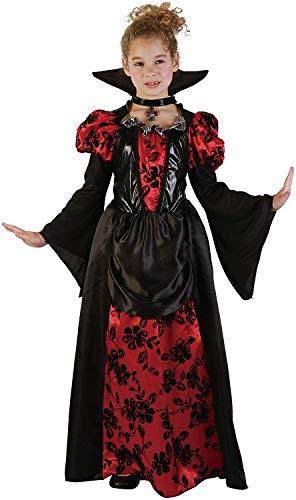Kind Kostüm Vampirin Mädchen - Magicoo Prinzessin Vampir Kostüm Kinder Mädchen rot-schwarz - schickes Halloween Vampirkostüm Kind Gr. 110 bis 140 (146/152)