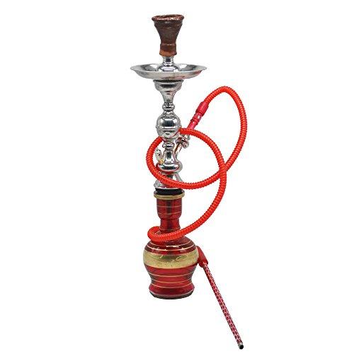 Cachimba o shisha tradicional egipcia completa de 57 cm aproximadamente con sus juntas, pinza y manguera lavable.