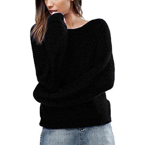 Oben Damen,DAY.LIN Herbst Winter Lose Langarm V-Ausschnitt Kreuz Pullover Solide Hemd (M, Schwarz) (Seide Stricken Unterwäsche)