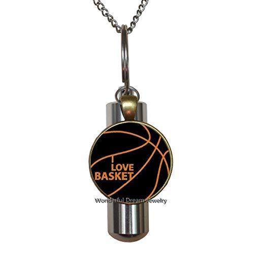 PU028 Basketball-Urnen-Halskette, Sporturne, Basketball-Charm, I Love Basketball, Sport-URN, Basketballanhänger