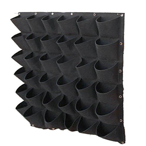 Gosear parete montato appeso verticale impianto borse verde crescere fioriera con 36 tasche per casa parete balcone giardino alimentazione nero
