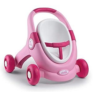 Smoby 210205 Minikiss - Carrito de bebé 3 en 1 (Silla de muñeca, para niños a Partir de 12 Meses), Color Rosa