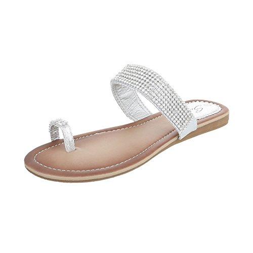 Zehentrenner Damenschuhe Peep-Toe Zehentrenner Ital-Design Sandalen / Sandaletten Silber