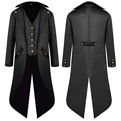 SwissWell Herren Steampunk Vintage Gothic Jacke warme Frack Herrenjacke Knöpfe Langer Mantel Cosplay Kostüm Graben Bomberjacke Cape mit Weste,Schwarz,EU-L/Herstellergröße-2XL
