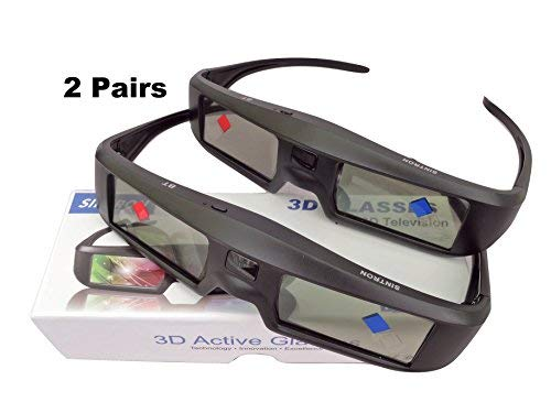 Sintron 3D Aktive Shutter Brille Rechargeable ST07-BT for RF/Bluetooth Sony, Panasonic, Samsung 3D TV & Epson 3D Projektor, 3D Glasses Eyewear Kompatibel TDG-BT500A TY-ER3D5MA TY-ER3D4MA (2 Pairs)
