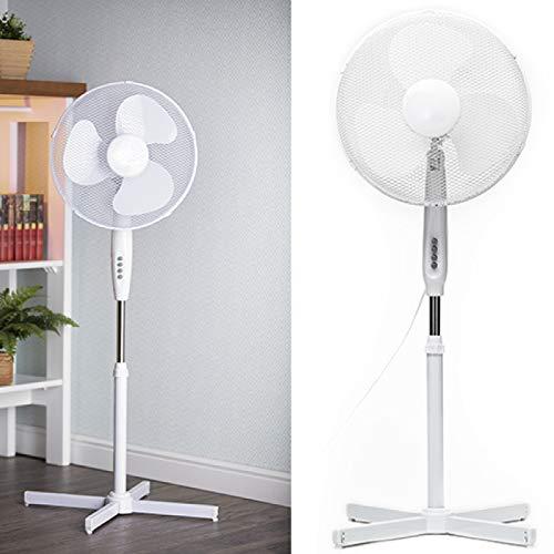 Ventilator Standventilator 40 cm Durchmesser, 3 Laufgeschwindigkeiten Klimagerät Gebläse Standlüfter Büro Smartweb