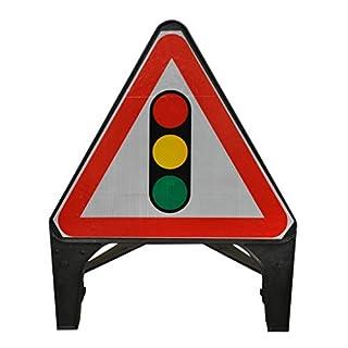 Street Solutions UK - 750mm Road Q-Sign 'Traffic Signals Ahead' - Plastic with Folding Leg