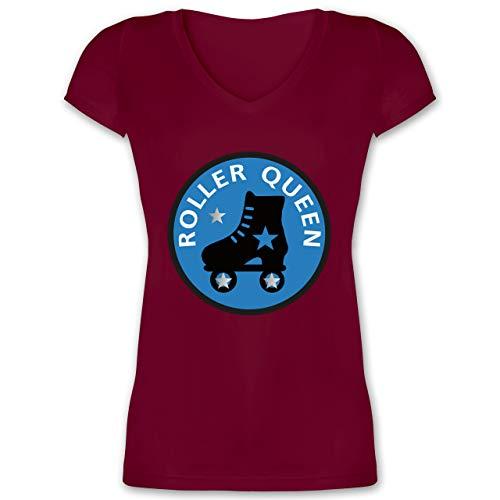 Vintage - Roller Queen Rollschuh - XL - Bordeauxrot - XO1525 - Damen T-Shirt mit V-Ausschnitt