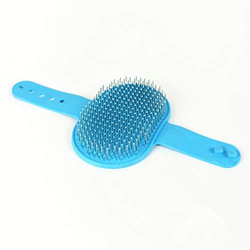 NOTUO Pet Badebürste Schönheit Kamm Soft Rubber Edelstahl verstellbare Schnalle mit sauberer Wolle und Massage Zubehör Tool Kit Haut kurz oder langes Haar -
