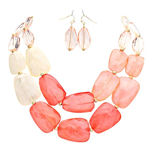 rosemarie-collections-womens-statement-necklace-earring-set-ombre-coral-color-polished-resin