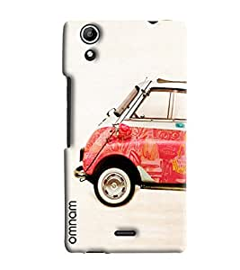 Omnam Colorful Car On Cream Effect Printed Designer Back Cover Case For Micromax Selfie 2 Q340