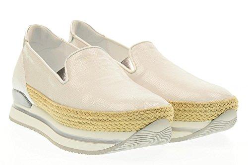 HOGAN scarpe donna slip on HXW2220X350FQR0351 H222 PANTOFOLA Argento-bianco