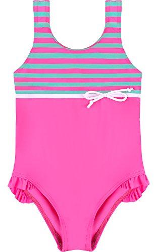 Merry Style Mädchen Badeanzug MSVRKind2 (Rosa/Minze, 116) (Kinder Badeanzug Rosa)