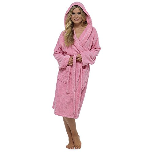 Style It Up Damen Morgenmantel Gr. Medium, Pink - Hooded (Terry Hooded Spa Roben)