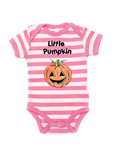 'little zucca' stampato a righe babygrow–halloween rosa bubblegum pink stripe 0-3 mesi