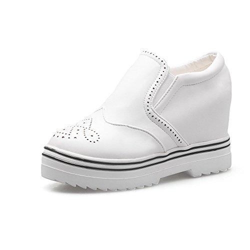 VogueZone009 Damen Ziehen Auf Hoher Absatz Pu Leder Rein Rund Zehe Pumps Schuhe Weiß