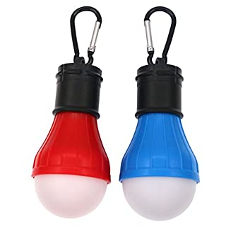 Coideal Camping Light 2 Pack Portable LED Tent Lantern Bulb Lights Battery Powered Lamp for Hurricane Emergency Hiking Fishing and Outdoor Adventures
