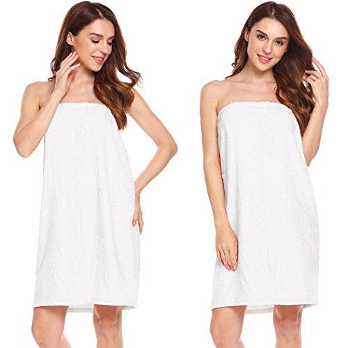ADOME Damen saunatuch 100% Baumwolle mit klettverschluss und aufgesetzten Taschen Duschtücher