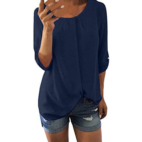 NPRADLA Damen Shirts und Blusen Frauen Hemden Casual Tops 3/4 Bell ärmel Ausgestellte Mode Rundhals Frontleiste Rasched Tasten Placket Ruched Knöpfen Elegante Lady