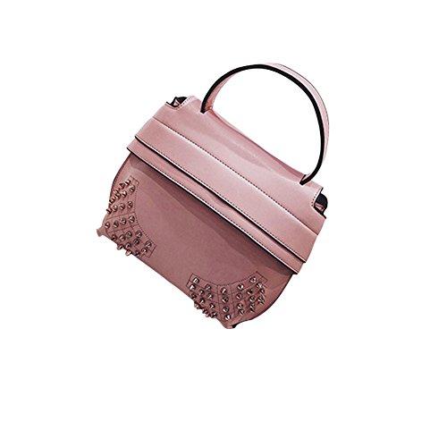WTUS Damen Neue Tragbare Schulter Mode Wild Niet Normallack Art und Weise Kurier Umhängetasche Zustrom von Frauen Handtasche Satchel Pink