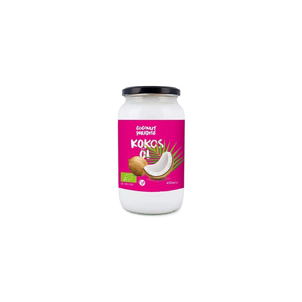 Coconut Paradise Bio Kokosl 450 Ml Kokosfett Kokosnussl Premium Nativ Kaltgepresst Rohkostqualitt Rein Zum Kochen Braten Und Backen