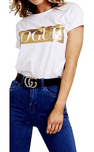 n-Goldfolie-Slogan-Vogue-Druck-T-Shirt SpitzenT-Shirt (White, SM) ()