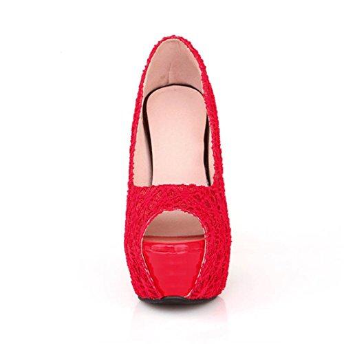 YE Damen Peep Toe 14cm High Heels Plateau Stilettos Spitze Fashion Elegante Pumps Schuhe Rot