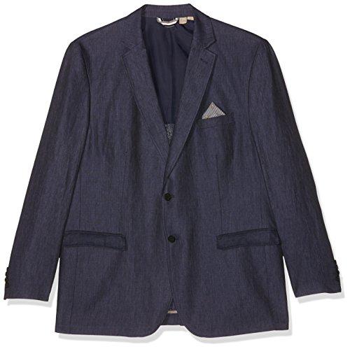 JP 1880 Herren bis Größe 66 | Leinen-Sakko | Blazer in dunkelblau | Knitterfrei, 2 Knöpfe & 3 Taschen | Reverskragen | leichtes Futter | Blau (Dunkelblau 70)