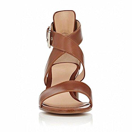 EDEFS Femmes Sandales Bout Ouvert Bloc Hauts Chaussures Boucle Fermeture Escarpins Marron
