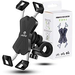 Grefay Support Téléphone de Vélo,Métal Support Smartphone Moto avec 360° Rotation pour 4-7 pouces
