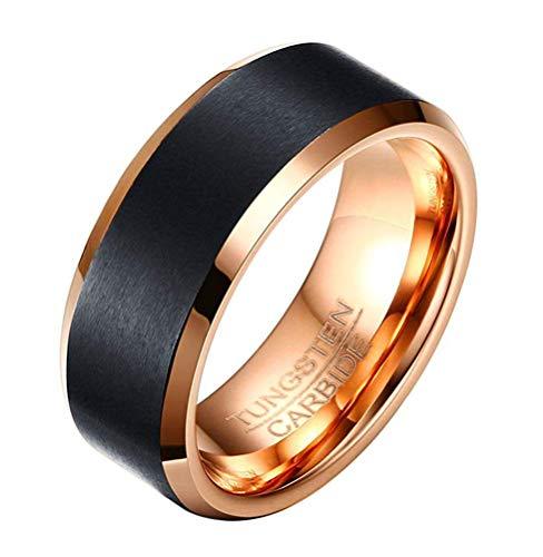 Ybmen uomo elegante 8mm oro rosa carburo di tungsteno nero opaco centro wedding ring punk uomini di nozze anello di fidanzamento regalo
