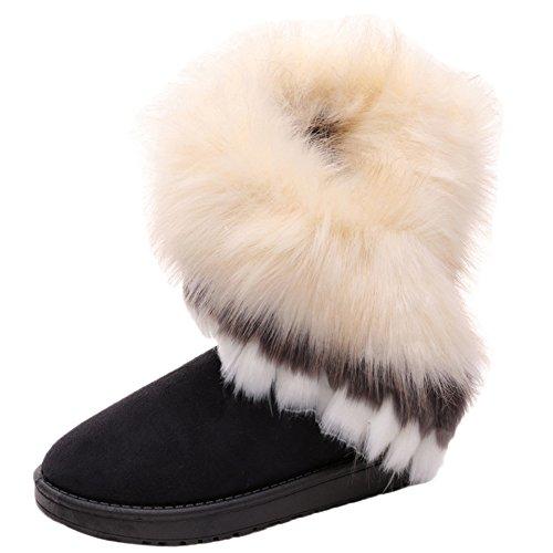 HooH Donne Stivali da neve Inverno Caldo Nappa Eco-pelliccia Stivali Addensare Stivali nero 38 EU