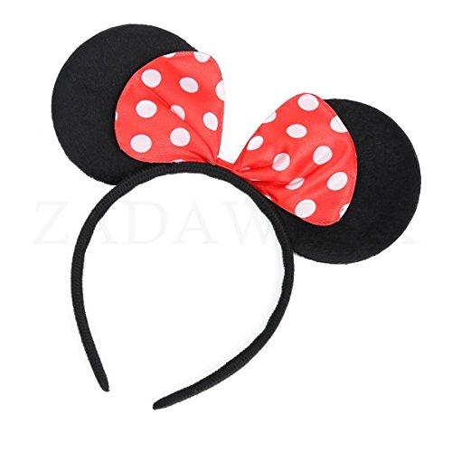 ZADAWERK® Haarreif - Mini Mouse - Rot - Typ02 - Maus-Kostüm - Karneval - Kinder