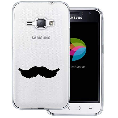 (dessana Mustache Transparente Schutzhülle Handy Case Cover Tasche für Samsung Galaxy J1 (2016) Walross Bart)