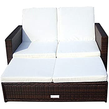 vidaxl 3 in 1 sofabett rattan sofa lounge gartengarnitur gartenliege klappbar. Black Bedroom Furniture Sets. Home Design Ideas