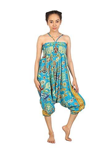 Lofbaz Damen Elefantendruck Dashiki Aladin 2 in 1 Haremshose & Jumpsuit Elephant 2 Hellblau