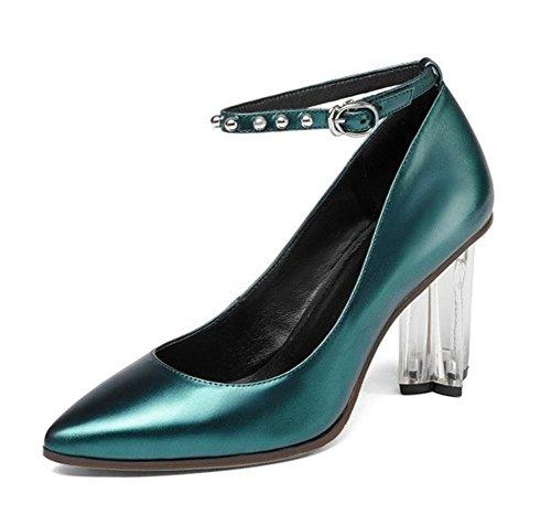 Femmes Cheville Sangle Pointu Doigt de pied Cristal Rugueux Haute Talon Chunky Chaussure Pompes Or Cuir Tribunal Chaussures Fête Robe Travail Green
