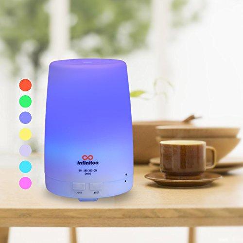 Diffusore di aromi | infinitoo diffusore di aromi ad ultrasuoni | Deumidificator | Chiusura automatica | umidificatore a olio di aromi con 4 modalità di regolazione del tempo e 7 colore di DEL (300ml)