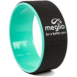 Meglio Yoga rueda 33cm–ideal para pilates y yoga ejercicios para mejorar la flexibilidad–liberación muscular tensión, stretch targetting para espalda, caderas, hombros y pecho–incluye guía de ejercicios, verde