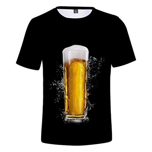 Beer Festival T-Shirt,Herren Sommer 3D-Druck Oansatz Kurzarm T-Shirt Tops(Schwarz-A,XXX-Large)