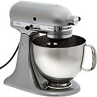 KitchenAid KSM150PSEMC - Robot de cocina, motor de 300 vatios, capacidad de 5 l, 10 velocidades, color cromo